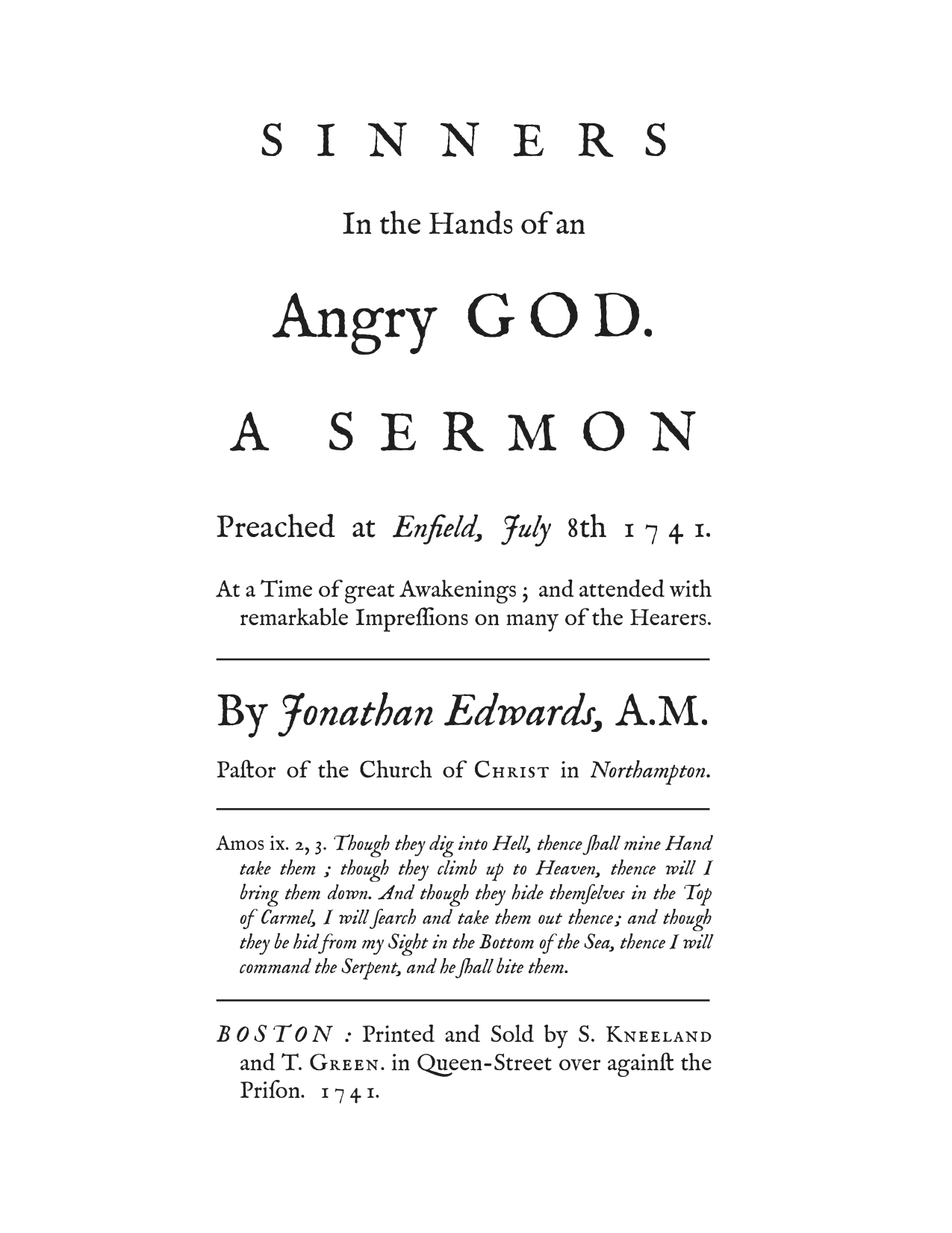 Sinners in the hands of an angry god essay ideas